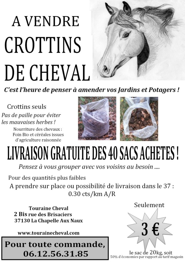 Fumier crottins touraine cheval